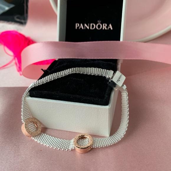PANDORA Reflexions Silver Flat Mesh Bracelet